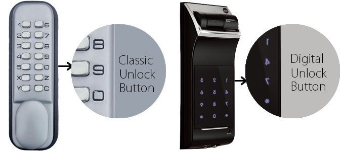 Differences between Classic and digital door unlock button
